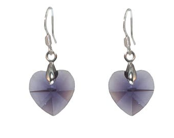 Romantic earrings * purple amethyst Crystal heart *.