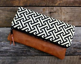 Black Modern Geometric Black and Ivory Foldover Clutch / Kindle Case