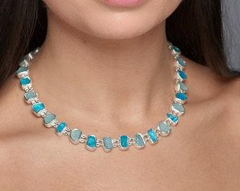 Made to Order Unique Designer Aquamarine and Apatite Gemstone Sterling Silver Ladies Statement Necklace