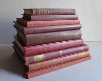 Red Brown Orange Vintage Books, Music Book Bundle, Decorative Book Props, Stylist Prop Set Dressing, Old Red Vintage Books