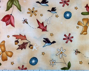 Red Rooster COUNTRY GARDEN (BEIGE) 100% Cotton Premium Fabric - Per 1/2 yd