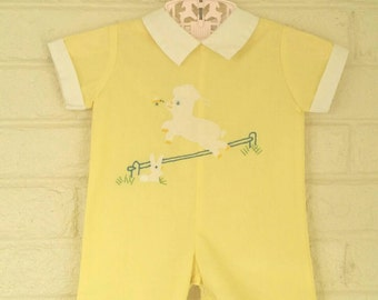 Litttle Lamb, One Piece Yellow Suit, Short Sleeves, 0-3 Months