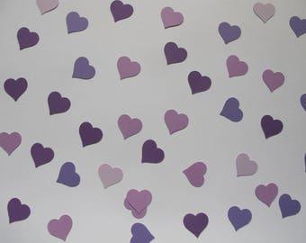 Shades of Purple Heart Confetti - Purple Wedding Decorations - Purple Bridal Shower Decorations - Heart Decorations - Purple Baby Shower