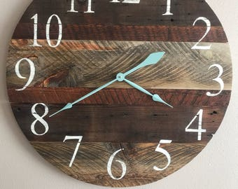 "Rustic old wood clock with teal hands. 24"" Sample , custom clock will be made in order."