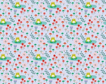 Fairy Tale Fabric by the Yard, Floral, Quilt, Cotton, Princess Dreams, Frog, Prince, Riley Blake, Nursery, Baby, Shower, Childrens, Decor