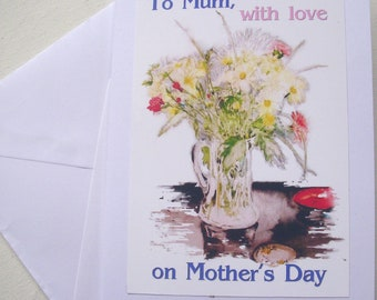 Mother's Day card, handmade with traditional style vase of flowers image and caption 'To Mum with love on Mother's Day'
