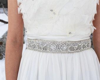 DAPHNE - Beaded Rhinestone Bridal Sash, Wedding Belt