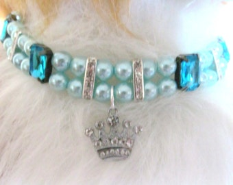 Dog/Cat Collar Necklace Blue Pearl Prince or Princess, Pet Pearl Collar, Pet Rhinestone Collar, Pet Necklace, Dog Collar Bling, Pet Gift