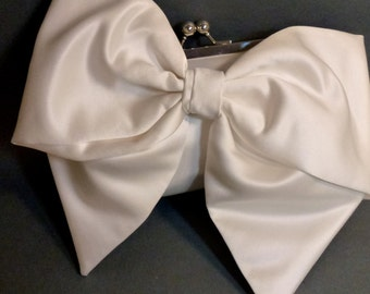 Bridal Clutch or Bridesmaid Clutch Ivory Satin Bow Clutch