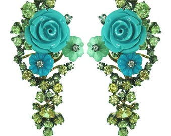 925 Silver Earrings, Hot Floral design Turquoise Carved Flowers with Yellow and Light Green Zircon