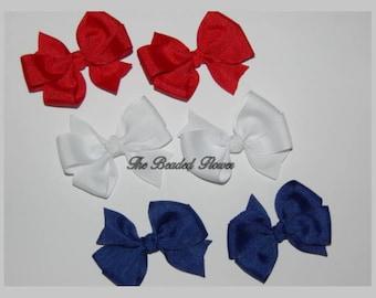 Simple pigtail pinwheel hairbows solid patriotic bows