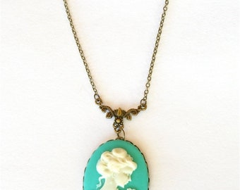 20%OFF SALE Cameo Necklace, Victorian Lady Cameo, Teal Green Cameo