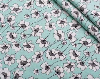 turquoise white flowers crepe silk, silk fabric, buy yard, fabric for dress, silk fabric for clothing-1 / yard