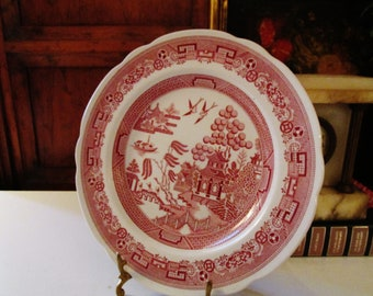 The Spode Archive Collection, Willow, Cranberry, Wall Gallery Decor, Chinoiserie, English Country Decor, Luncheon Plate