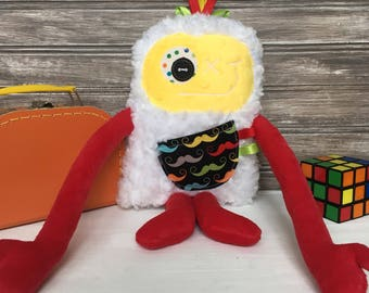 Hug Monster, handmade plush toy,  red and yellow with mustache pocket, happy friendly monster for child, unique  christmas gift