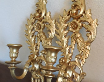 Vintage Gold Wall Sconce Pair, Burwood 4055 made by Homco, Floral Candle Holder, 1962  Set of 2