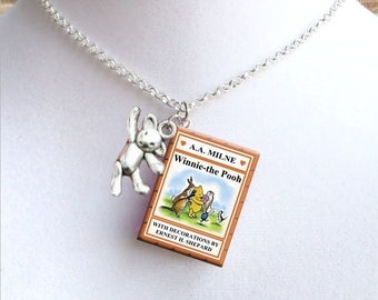 Winnie the Pooh With Tiny Bear Charm - Miniature Book Necklace