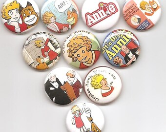 Little Orphan Annie Set of 10 Pins Button Badge Pinback