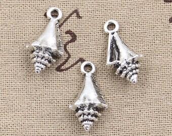 5 Seashell Charms Antique Silver Tone Conch Charms Charm Bracelet Bangle Bracelet Pendants #138