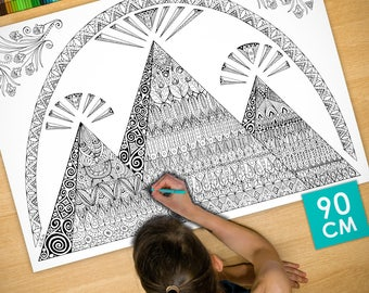 Poster / Poster deco coloring (90cm) pyramids - coloring for adults