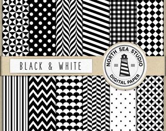Schwarz und weiß Digital Paper Pack | Scrapbook Papier | Druckbare Hintergründe | 12 JPG, 300dpi-Dateien | BUY5FOR8