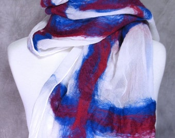 Nuno Felted Scarf Felted Wool and Silk White, Magenta, Ruby, Blue