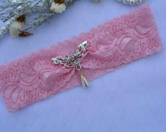 Bridal Garter, Rhinestones Garter, Wedding Garter Pink, Bridal Garter Set, Garter Set, Lace Garter, Wedding Gift, Garter, Bridal Pink Gift