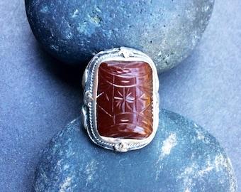 Carnelian Etched Stone Antique Sterling Silver Art Nouveau Ring Size 1 3/4+