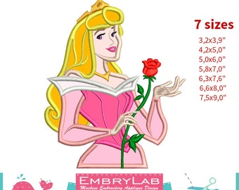 Applique Princess Aurora With Rose. Sleeping Beauty. Machine Embroidery Applique Design. Instant Digital Download (16234)