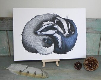 Badger Couple Illustration - A4 Print on 270gsm Card available in 3 Colours