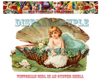 Large Victorian Scrap - Girl in an Oyster Shell - A4 Digital Download