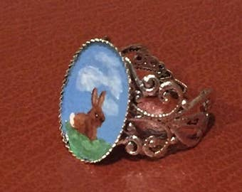 OOAK bunny ring, hand painted bunny, bunny jewelry, unique jewelry, adjustable ring, vintage jewelry, easter ring, easter jewelry