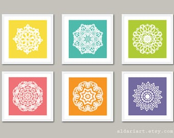 Mandala Art Prints - 5x5 - Modern Medallion Wall Art - Custom Colors