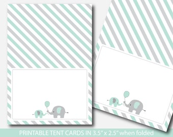 Mint green elephant baby shower food labels, Food tent cards, Place cards, Food tent labels, Place settings, Buffet labels, BE6-10