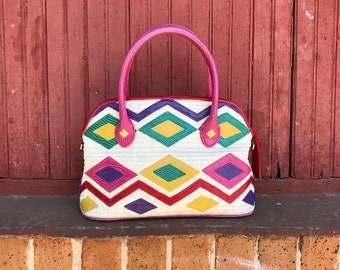 Vintage 1980's Multicolored Geometric Handbag