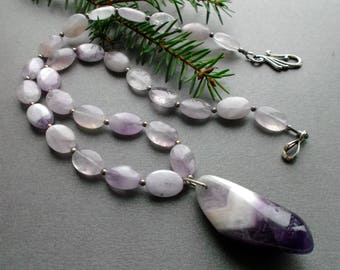 necklace NATURAL AMETHYST with a pendant. February birthstone, February jewelry. gift for her. gift for women. wife amethyst gift. for wife