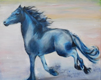 painting on canvas, 50x50cm, Frisian horse square format