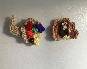 Set of 2 Crocheted Fridge Magnets-Turkey and Cornucopia