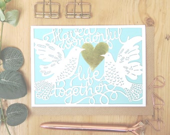 Wedding doves card, Luxury wedding card, Love birds engagement card, Happy ever after card, Papercut wedding card, Dove lovers card