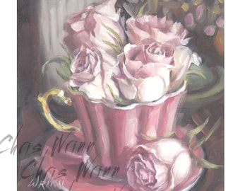 Pink Roses Original Oil Painting in a Vintage Tea Cup, 5x5 inches a Small Painting, Home Decor, Floral Art