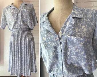 Vintage 50s Blue Floral Pleated Shirt Dress by Lady Carol / Womens Size Medium M 1950s Secretary Day Belted High Waist Dress
