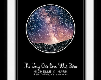 AS 1 Location Star Map Constellation Chart Night Sky - Personalize Gift for Couple Romantic bean 31344