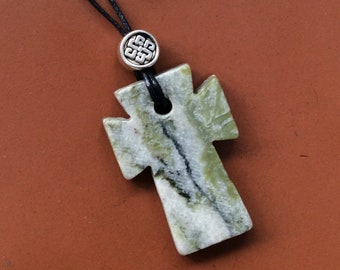 Connemara marble Celtic cross hand carved polished Irish pendant jewelry Easter gift