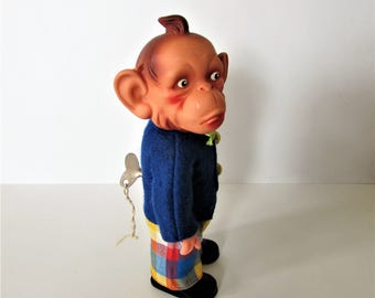 Large Vintage Rubber Head Ape - Made In Japan -  Removeable Key Wind Up Walking - Good Working Order.