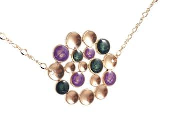 Vert forêt ronde pendentif, bijoux bulle, cadeau de Noël grand, pendentif, collier en or violet, Coctail bijoux, cadeaux de Noël pour elle