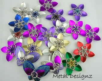 Chainmail Scale Flower kit - Make your own Scale Flowers. Scalemaille Beginner Level kit