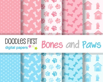 Bones and Paws Digital Paper Pack Includes 10 for Scrapbooking Paper Crafts