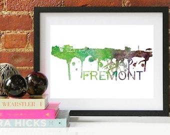 Freemont Watercolor Skyline, Freemont Skyline, Freemont Art, Freemont Poster, Freemont Print, Freemont Art, Freemont Map, Freemont Wall Art