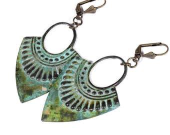 Boho Earrings, Gypsy Earrings, Copper Dangle Earrings, Tribal Earrings Hoop Earrings, Patina Earrings, Boho Jewelry, Steampunk Boutique