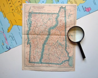 Vintage 1921 Map of New Hampshire and Vermont Old USA Map